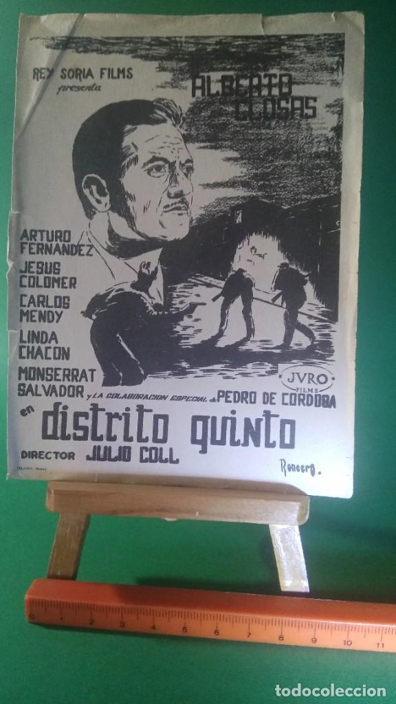 """FOLLETO DE MANO """" DISTRITO QUINTO """" 1957 - ARTURO FERNANDEZ (Cine - Folletos de Mano - Drama)"""
