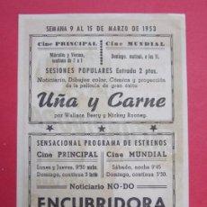 Cine: ENCUBRIDORA - AÑO 1953 - FOLLETO - PROGRAMA CINE PRINCIPAL Y MUNDIAL- GRANOLLERS...L925. Lote 202646243