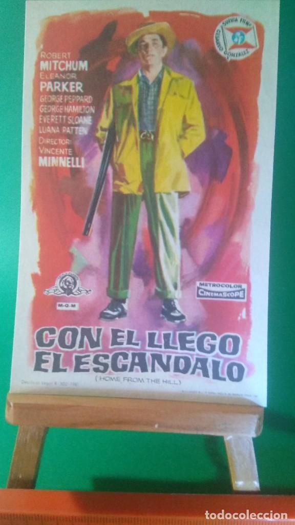 """FOLLETO DE MANO """" CON EL LLEGÓ EL ESCÁNDALO """" 1960 - ROBERT MITCHUM, ELEANOR PARKE -ESTADO PERFECTO (Cine - Folletos de Mano - Drama)"""