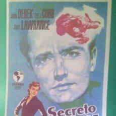 """Cine: FOLLETO DE MANO """"SECRETO DE FAMILIA"""" 1951 - JOHN DEREK, LEE J. COBB - ESTADO PERFECTO. Lote 202654182"""