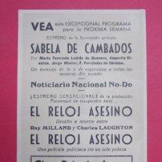 Cine: EL RELOJ ASESINO - AÑO 1948 - FOLLETO - CINE PRINCIPAL - GRANOLLERS...L931. Lote 202670540