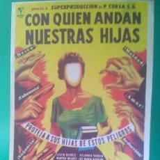 """Cine: FOLLETO DE MANO """" CON QUIEN ANDAN NUESTRAS HIJAS """" 1955 - SILVIA DERBEZ, YOLANDA VARELA-PERF. ESTADO. Lote 202745756"""