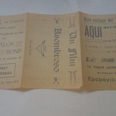Cine: ÚNICO!! FOLLETO DE MANO DE CINE MUDO 28 DE ENERO DE 1927 DEL SALÓN BONIS SAHAGÚN - LEÓN. Lote 202754527