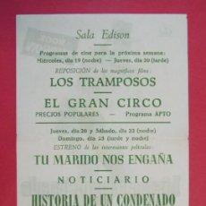 Flyers Publicitaires de films Anciens: HISTORIA DE UN CONDENADO - AÑO 1960 - FOLLETO - SALA EDISON - FIGUERES, GIRONA...L938. Lote 202758380