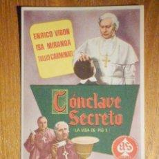 Cine: FOLLETO DE MANO CINE - PELÍCULA FILM - LARGOMETRAJE - CONCLAVE SECRETO. Lote 202780437