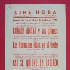 Cine: ASI SE QUIERE EN JALISCO - AÑO 1946 - FOLLETO - CINE HORA - BARCELONA...L947. Lote 203140626
