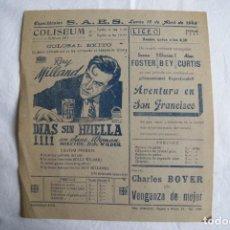 Foglietti di film di film antichi di cinema: DIAS SIN HUELLA , VENGANZA DE MUJER, PROGRAMA LOCAL CINE SALAMANCA 1949 GRANDE 21X23 CM T110. Lote 203166053