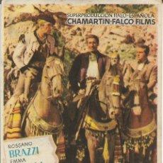 Flyers Publicitaires de films Anciens: PROGRAMA DE CINE – CARNE DE HORCA – ROSSANO BRAZZI – TEATRO METROPOL – TARRAGONA. Lote 203266588