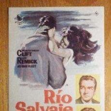 Cine: FOLLETO DE MANO CINE - PELÍCULA FILM - LARGOMETRAJE - RIO SALVAJE. Lote 203299150
