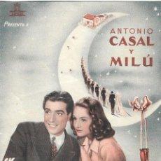 Folhetos de mão de filmes antigos de cinema: PN - PROGRAMA DOBLE - DOCE LUNAS DE MIEL - ANTONIO CASAL, MILÚ - PRINCIPAL CINEMA (MÁLAGA) - 1944.. Lote 203434791