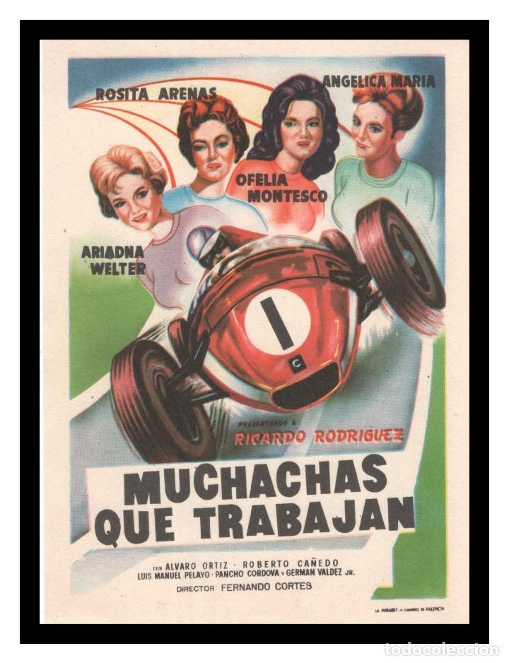 FOLLETO DE MANO, MUCHACHAS QUE TRABAJAN, ROSITA ARENAS, ARIADNA WELTER, ANGELICA MARIA. (Cine - Folletos de Mano - Musicales)