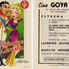 Cine: FOLLETO DE MANO EL PRINCIPE Y LA CORISTA, MARILYN MONROE .CINE GOYA ZARAGOZA. Lote 203513562