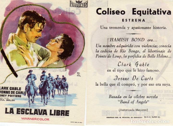 FOLLETO DE MANO LA ESCLAVA LIBRE. CINE COLISEO EQUITATIVA ZARAGOZA (Cine - Folletos de Mano - Westerns)