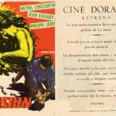 Cine: FOLLETO DE MANO LA EVASION. CINE DORADO ZARAGOZA. Lote 203539888