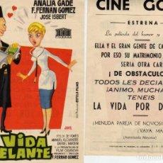 Cine: FOLLETO DE MANO LA VIDA POR DELANTE. CINE GOYAZARAGOZA. Lote 203541388