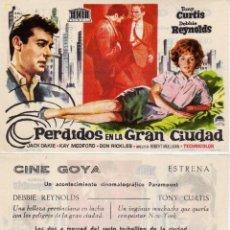 Cine: FOLLETO DE MANO PERDIDOS EN LA GRAN CIUDAD. CINE GOYA ZARAGOZA. Lote 203573940