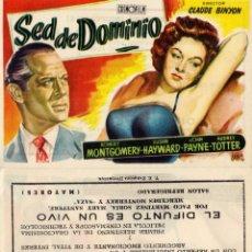 Cine: FOLLETO DE MANO SED DE DOMINIO. TEATRO IRIS ZARAGOZA. Lote 268441519