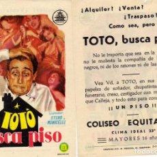 Cine: FOLLETO DE MANO TOTO BUSCA PISO. COLISEO EQUITATIVA ZARAGOZA. Lote 203584227