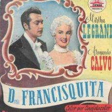 Folhetos de mão de filmes antigos de cinema: PN - PROGRAMA DOBLE - DOÑA FRANCISQUITA - MIRTHA LEGRAND, ARMANDO CALVO - PRINCIPAL CINEMA (MÁLAGA). Lote 203615530