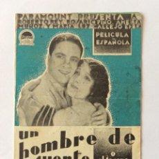 Cine: PROGRAMA DOBLE CON CINE IMPRESO. PARAMOUNT. ROBERTO REY, ROSARIO PINO. UN HOMBRE DE SUERTE. Lote 203875223