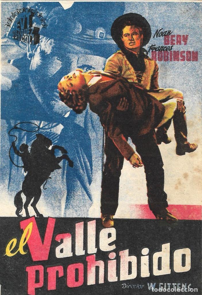 PROGRAMA DE CINE - EL VALLE PROHIBIDO - NOAN BEERY, FRANCES ROBINSON - CINE DUQUE Y JARDIN (MÁLAGA) (Cine - Folletos de Mano - Westerns)