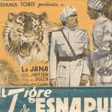 Cine: PROGRAMA DOBLE - EL TIGRE DE ESNAPUR - LA JANA, KITTY JANTZEN - 1938 - SIN PUBLICIDAD.. Lote 203904687