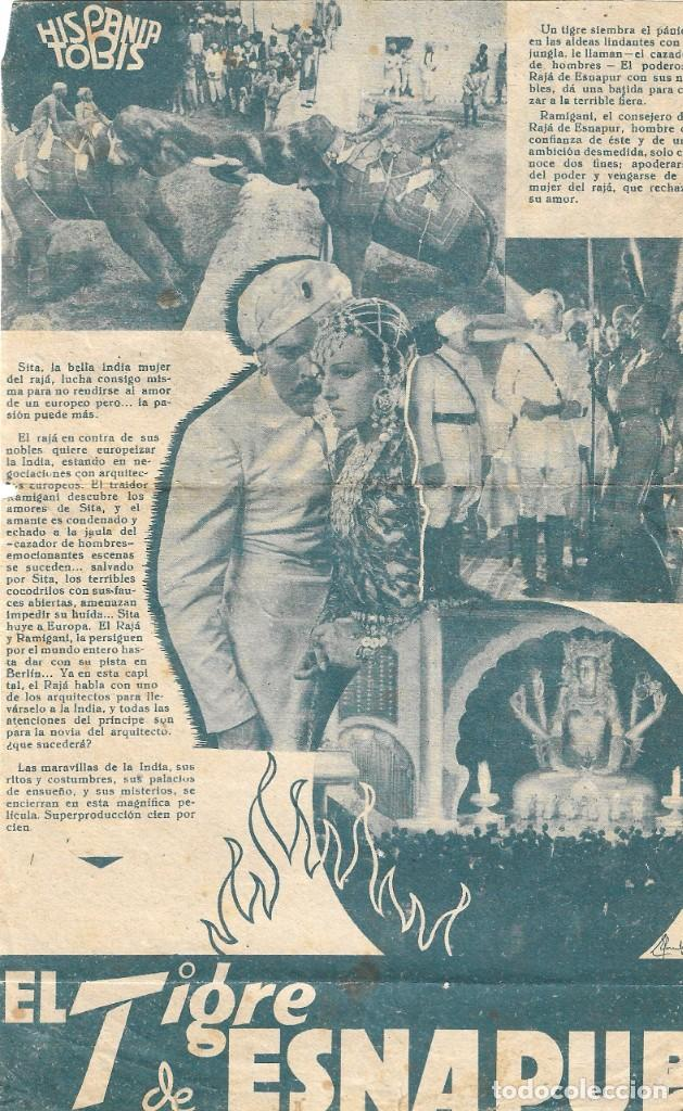 Cine: PROGRAMA DOBLE - EL TIGRE DE ESNAPUR - LA JANA, KITTY JANTZEN - 1938 - SIN PUBLICIDAD. - Foto 2 - 203904687
