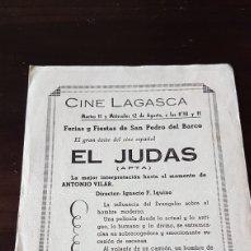 Cine: PROGRAMA DE MANO CINE LAGASCA EL BARCO DE ÁVILA . EL JUDAS. Lote 203913372
