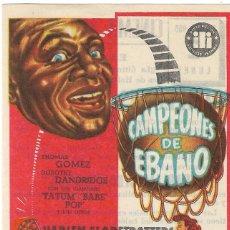 Cine: PN PROGRAMA DE CINE - CAMPEONES DE ÉBANO - HARLEM GLOBETROTTERS - CINEMA ALHAMBRA (LA GARRIGA) 1951.. Lote 203975590