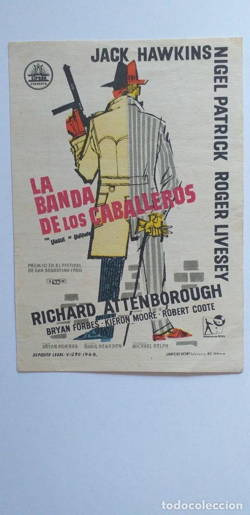 LA BANDA DE LOS CABALLEROS JACK HAWKINS PROGRAMA DE CINE SIN PUBLICIDAD (Cine - Folletos de Mano - Suspense)