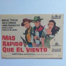 Cine: MAS RAPIDO QUE EL VIENTO ROBERT TAYLOR PROGRAMA DE CINE CON PUBLICIDAD. Lote 204135848