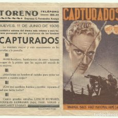 Cine: PTCC 046 CAPTURADOS PROGRAMA DOBLE WARNER LESLIE HOWARD DOUGLAS FAIRBANKS JR.. Lote 204152115