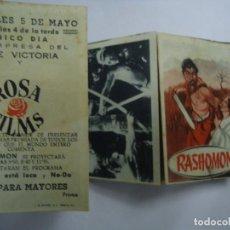 Cine: RASHOMON 1950 PROGRAMA DE CINE DESPLEGABLE CON PUBLICIDAD CINE VICTORIA MUY RARO 13 FOTOS. Lote 204158831