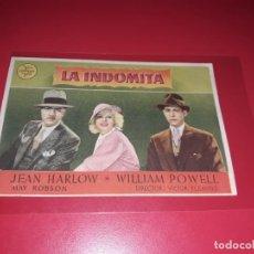 Cine: LA INDOMITA . PUBLICIDAD AL DORSO. AÑO 1935. Lote 204177180