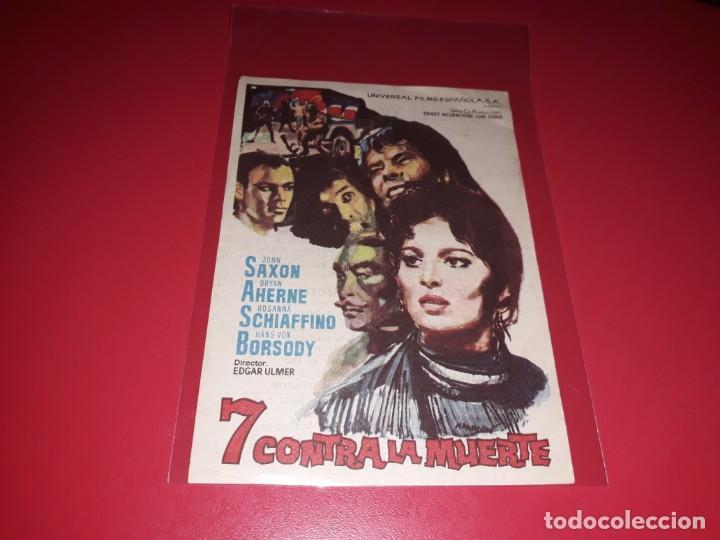 7 CONTRA LA MUERTE . PUBLICIDAD AL DORSO. AÑO 1964 (Cine - Folletos de Mano - Bélicas)