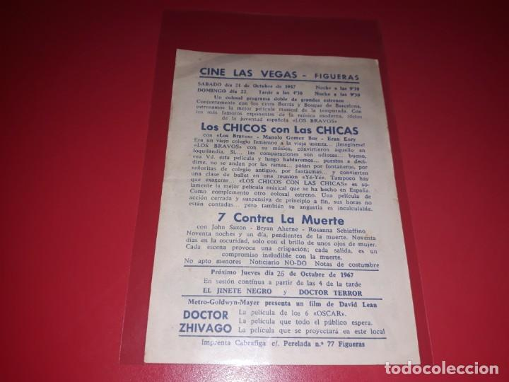 Cine: 7 Contra la Muerte . Publicidad al dorso. Año 1964 - Foto 2 - 204178115