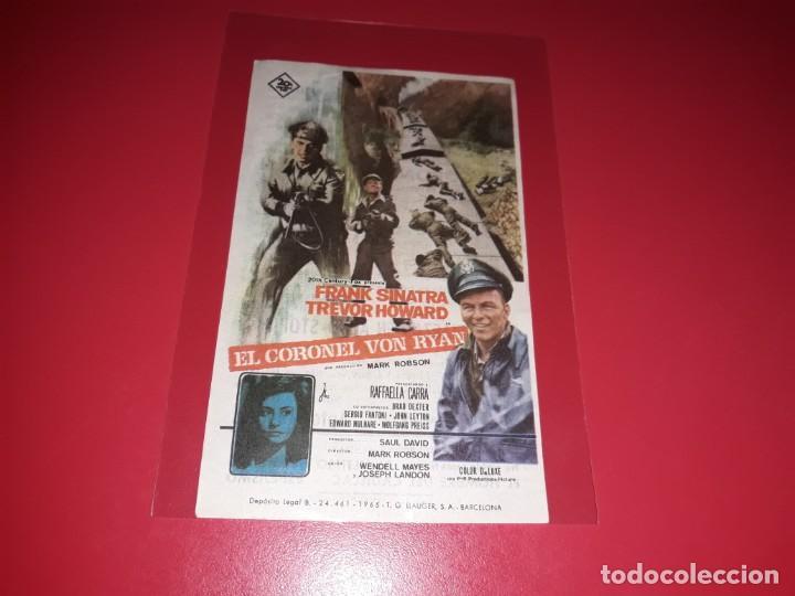 EL CORONEL VON RYAN CON FRABNK SINATRA Y TREVOR HOWARD . PUBLICIDAD AL DORSO. AÑO 1965 (Cine - Folletos de Mano - Bélicas)
