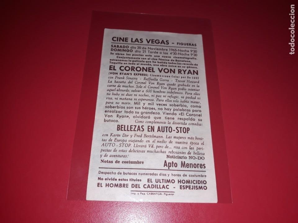 Cine: El Coronel Von Ryan con Frabnk Sinatra y Trevor Howard . Publicidad al dorso. Año 1965 - Foto 2 - 204179991