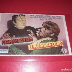 Cine: FRANKENSTEIN Y EL HOMBRE LOBO. PUBLICIDAD AL DORSO. AÑO 1943. Lote 204186465