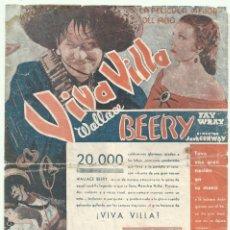 Cine: PTCC 047 VIVA VILLA PROGRAMA DOBLE MGM WALLACE BEERY FAY WRAY. Lote 204190206