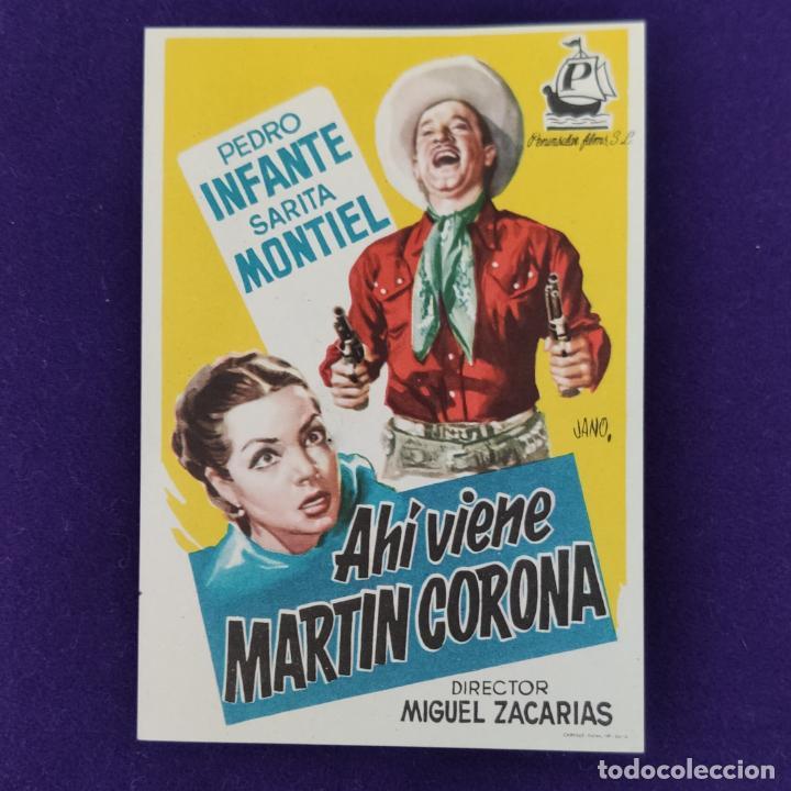 PROGRAMA DE CINE ORIGINAL. AHI VIENE MARTIN CORONA. PEDRO INFANTE. SARA MONTIEL. SENCILLO. (Cine - Folletos de Mano - Comedia)