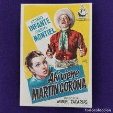 Cine: PROGRAMA DE CINE ORIGINAL. AHI VIENE MARTIN CORONA. PEDRO INFANTE. SARA MONTIEL. SENCILLO.. Lote 204266847