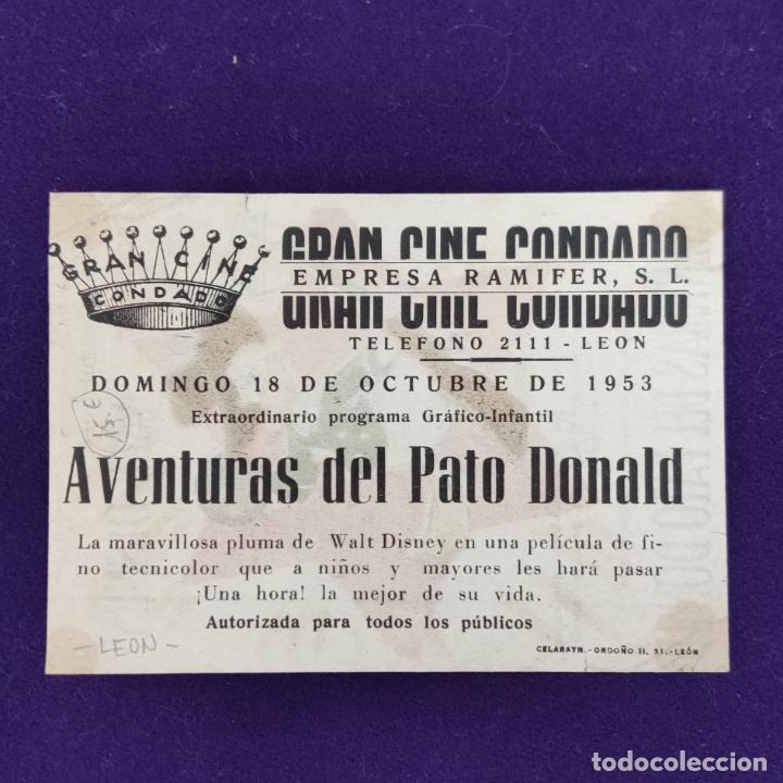 Cine: PROGRAMA DE CINE ORIGINAL. LEON. GRAN CINE CONDADO. AVENTURAS DEL PATO DONALD.WALT DISNEY. SENCILLO. - Foto 2 - 204268787