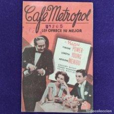 Cine: PROGRAMA DE CINE ORIGINAL. CAFE METROPOL. CINE AVENIDA. TYRONE POWER. LORETTA YOUNG. DOBLE.. Lote 204269586