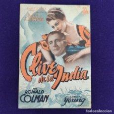 Cine: PROGRAMA DE CINE ORIGINAL. CLIVE DE LA INDIA. RONALD COLMAN. LORETTA YOUNG. DOBLE.. Lote 204280775