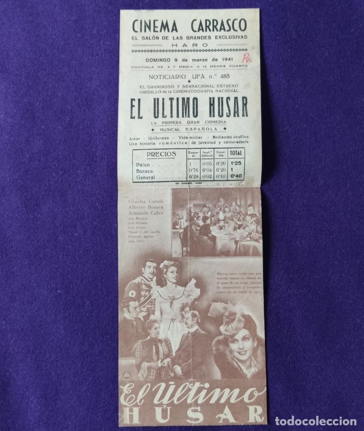 Cine: PROGRAMA DE CINE ORIGINAL. HARO (LA RIOJA). CINEMA CARRASCO. EL ULTIMO HUSAR. LUIS SAGI-VELA. DOBLE. - Foto 2 - 204308983