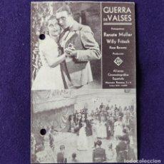 Cine: PROGRAMA DE CINE ORIGINAL. VERGARA (GUIPUZCOA). AZI ONA. GUERRA DE VALSES. TARJETA. 1931-36.. Lote 204315223