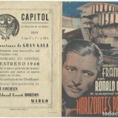 Cine: PTCC 048 HORIZONTES PERDIDOS PROGRAMA DOBLE COLUMBIA FRANK CAPRA RONALD COLMAN JANE WYATT. Lote 204317271