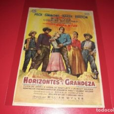 Cine: HORIZONTES DE GRANDEZA CON CHARLTON HESTON Y GREGORY PECK.PUBLICIDAD AL DORSO. AÑO 1958. Lote 204356612