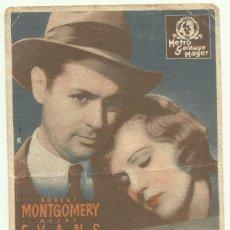 Cine: PTCC 050 AMANTES FUGITIVOS PROGRAMA TARJETA MGM ROBERT MONTGOMERY MADGE EVANS WALTER BRENNAN. Lote 204369790
